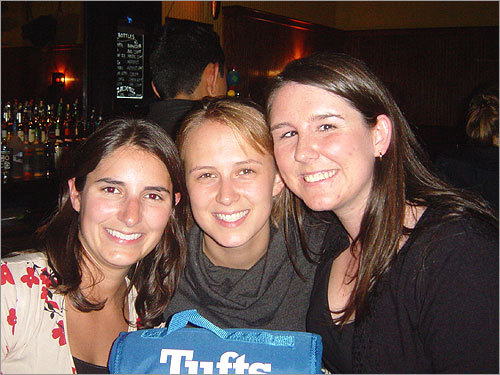 Michelle Mullanger of Medfield, Liz Sutton of Cambridge, and Alexis Smith of Boston at the Tufts Alumni Third Thursday Social at An Tua Nua.