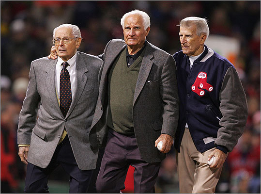 Dimaggio, Bobby Doerr and Johnny Pesky walked out onto the field to throw the first pitch of Game Two of the World Series between the Red Sox and the St. Louis Cardinals in October 2004.