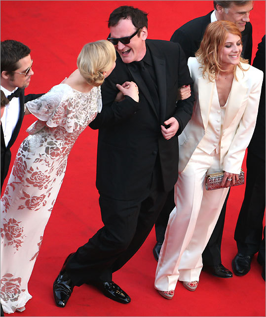 Brad Pitt, German actress Diane Kruger, director Quentin Tarantino, and French actress Melanie Laurent at the screening of the movie 'Inglourious Basterds'on May 20.