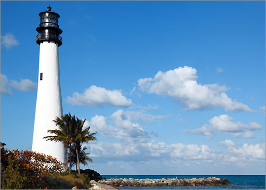 10. Cape Florida State Park Key Biscayne, Fla. Dr. Beach says: 'Cape Florida State Park, located at the south tip of Key Biscayne, provides clear, emerald-colored waters and gentle surf. This fine, white coral sand beach is great for swimming, as waves are knocked down by a large sand shoal offshore.'