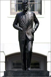 Isabel McIlvain's 1990 bronze statue of President Kennedy on the steps at the State House was paid for by private citizens.