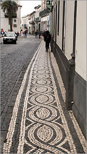 Ponta Delgada's sidewalks are made up of intricate mosaics.