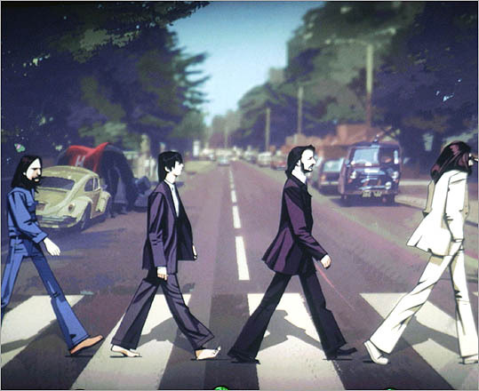 The Beatles are shown crossing Abbey Road in a scene from the game.