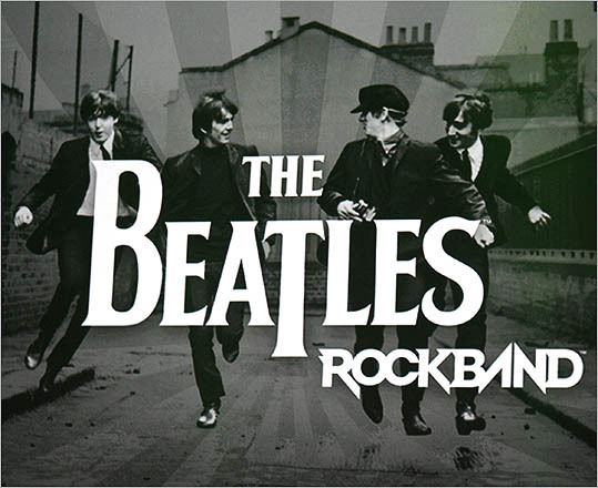 The Beatles are shown on the title screen in a scene from the new video game The Beatles: Rock Band.
