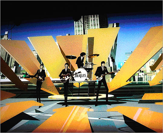 The Beatles are shown performing in this scene from the game.