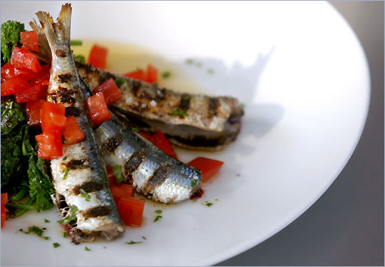 A plate of Fresh Portugese Sardines at Pesce Blue