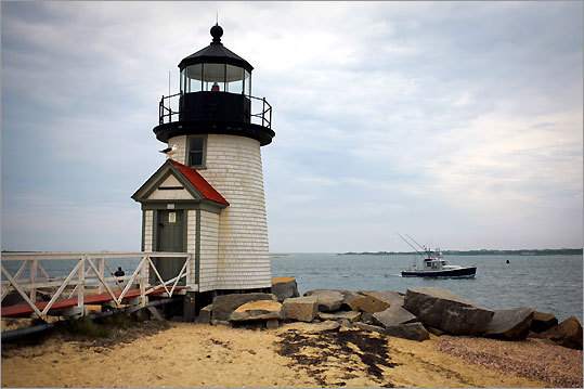 Brant Point Lighthouse, at the entrance to Nantucket Harbor, was established in 1746. This light, the ninth to stand here, was built in 1901.
