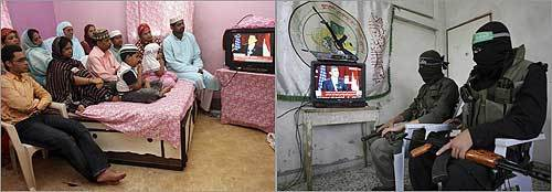 President Obama's speech was watched by a Muslim family in Calcutta, left, and Palestinian Hamas militants.