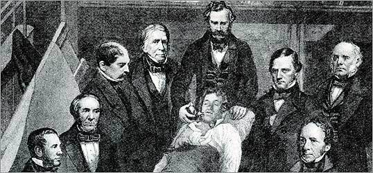 The great moment in the Ether Dome when William Morton administered anesthesia to patient Gilbert Abbott on Oct. 16, 1846.