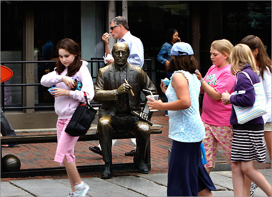 In Quincy Market sits a bronze statue of the legendary Red Auerbach (1917-2006), who was a Boston Celtics championship coach, then general manager, and part of the team for 57 years.
