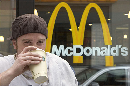 McDonald's has spent $100 million in recent months promoting McCafé, which has seen its popularity rise.