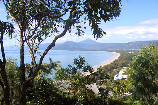 Four Mile Beach in Port Douglas, Australia, looks out on the Coral Sea.