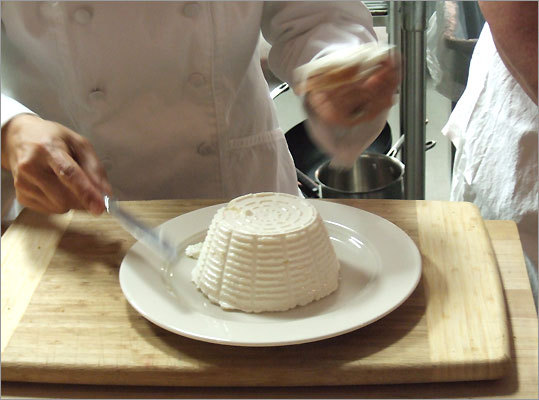 Ricotta, fresh from its mold