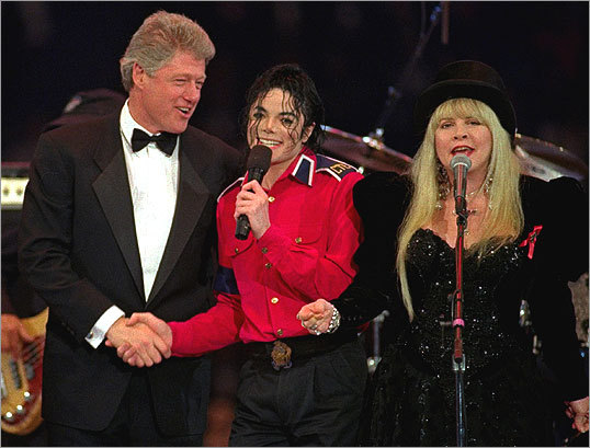 President-elect Bill Clinton sang 'Don't Stop' with Jackson and Fleetwood Mac's Stevie Nicks at the Presidential Gala at the Capital Centre on Jan. 19, 1993.
