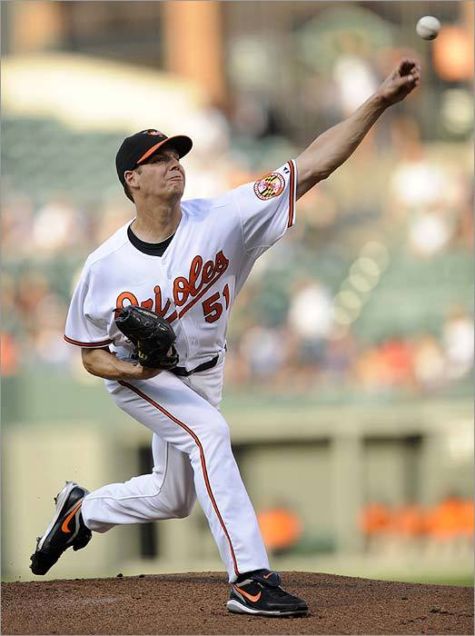 Milton's Rich Hill was the starting pitcher for the Orioles, but the local product was tagged for nine runs (seven earned) over 3 1/3 innings.