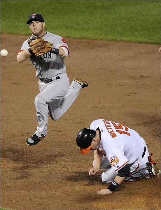 Sox second baseman Dustin Pedroia throws to first but is unable to turn the double play in the seventh inning.