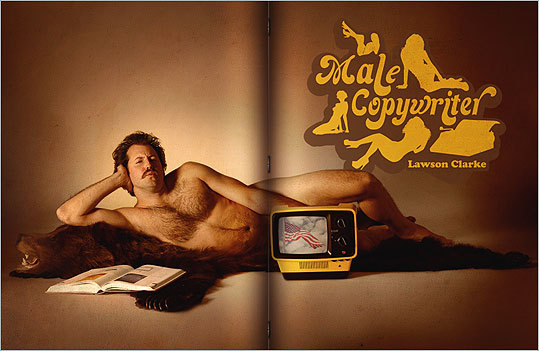 Unemployed copywriter Lawson Clarke undressed to impress during his job search, posing nude on a bearskin rug on his homepage: malecopywriter.com.