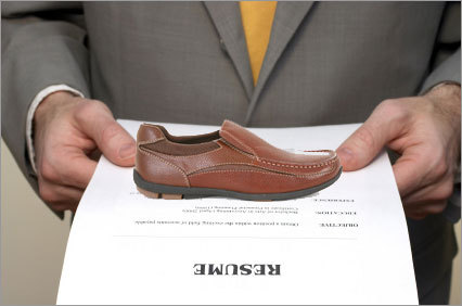 "Careerbuilder.com also reported in a recent study one job-searcher's unique way to get his ""foot in the door.'' The applicant attached a shoe to resumes he sent out to recruiters."