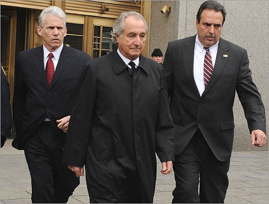 Bernard Madoff (center), a prominent money manager and former chairman of the Nasdaq Stock Market, pleaded guilty in 2009 to losing $50 billion of his investors' funds in a Ponzi scheme. On June 29, 2009, Madoff was sentenced to 150 years for what a federal judge called an act of 'extraordinary evil.' While Madoff's was the largest Ponzi scheme ever uncovered, he's not the only one to have bilked unwitting investors. Here are some other notable local and national Ponzi schemes that have been uncovered.