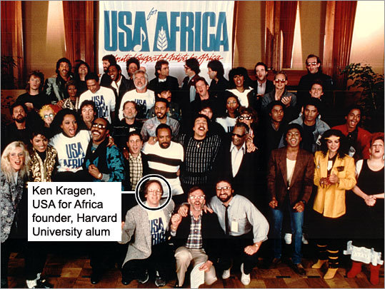 In January 1985, Harvard alum Ken Kragen personally coordinated the gathering of 45 recording artists to sing 'We are the World,' which was co-written by Michael Jackson and Lionel Richie. Proceeds from the record went to United Support of Artists for Africa, a charity Kragen founded to help fight famine and poverty in the developing world, and hunger and homelessness here. Now that there is renewed interest in the song due to the death of Michael Jackson, see if you can match the names to the faces in the photo taken during the collaboration.