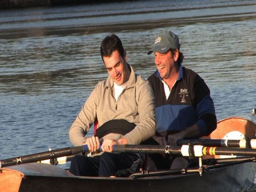 In mid-May, Dave Estrada and Spaulding research scientist Andrew Taylor climbed in a two-man boat and rowed together on the Charles River. After a year of indoor rowing in Taylor's lab, Estrada didn't know how to row on water. Either did Taylor. 'If I'm going to prescribe this exercise to other people, I better be willing to do it myself,' said Taylor. Before pushing off the dock , Estrada and Taylor got a quick lesson in 'feathering' their oars from two former Olympic rowers.
