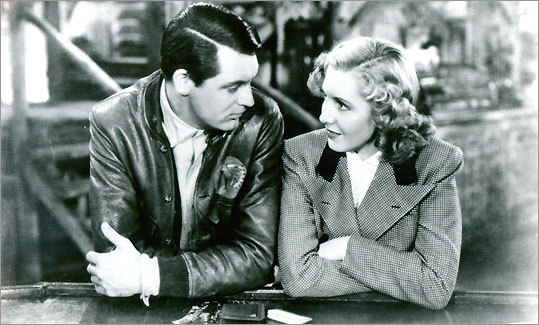 Cary Grant as Geoff Carter and Jean Arthur as Bonnie Lee in Howard Hawks's 'Only Angels Have Wings.'