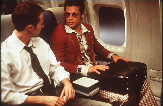Edward Norton, left, as Jack and Brad Pitt as Tyler Durden in David Fincher's 'Fight Club,'' based on the novel by Chuck Palahniuk.