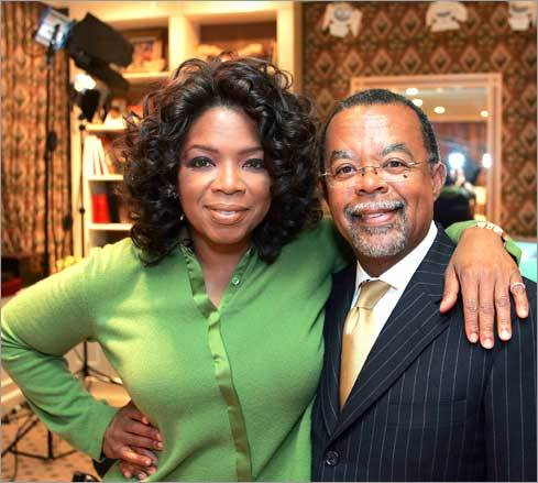 Gates is the author of several award-winning books, including 'Finding Oprah's Roots, Finding Your Own.' Right: Gates and TV pioneer and philanthropist Oprah Winfrey during a taping of a segment designed as a companion to the book, which documents genealogical searches of famous Americans.