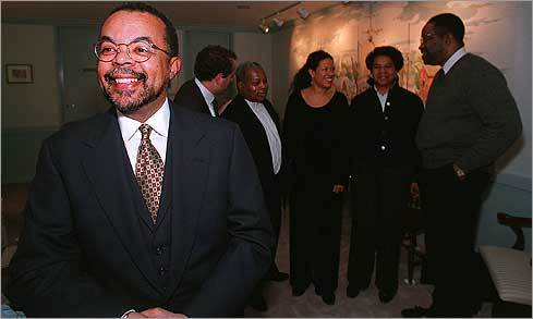 Gates is also the co-editor of several anthologies, including The Norton Anthology of African American Literature (W.W. Norton, 1996). Shown: Gates in 1996 at the Boston Public Library for a reading.