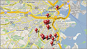 Find out where homicides took place in Boston this year.