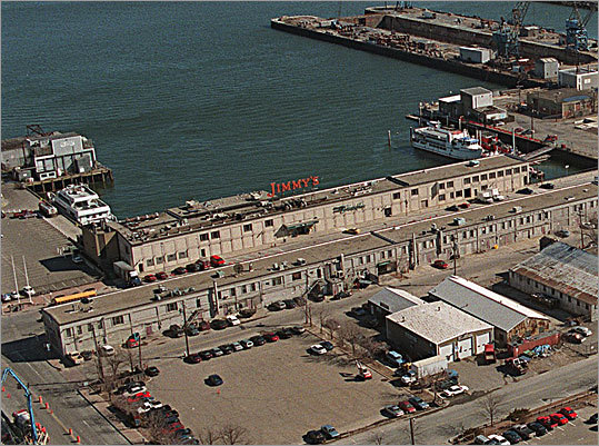 An aerial view of the old Jimmy's Harborside restaurant. When the restaurant's foundation began sinking into Boston Harbor, its cavernous interior required top-to-bottom renovations.