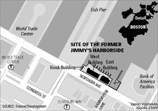 A map showing the former site of Jimmy's Harborside restaurant on the South Boston Waterfront. The site will become a three-story Legal Sea Foods that its owners say will be the flagship of the chain. 'We're going to call the complex Legal's Harborside, and part of that is a tip of the cap to Jimmy's,' said Roger Berkowitz, whose family founded Legal Sea Foods in Cambridge. 'They really developed this site and made it what it is.'