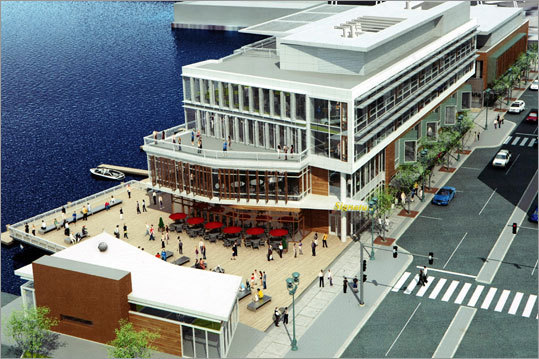 This artist's rendering from 2009 shows the new buildings on Northern Avenue boasting top-shelf office space and four restaurants, including a three-story Legal's Harborside.