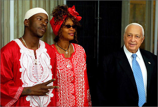 Bobby Brown, Whitney Houston, and former Israeli Prime Minister Ariel Sharon in 2003
