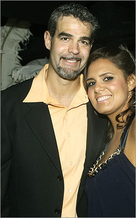 Aug. 30 in Boston Red Sox third baseman Mike Lowell and his wife, Bertha.