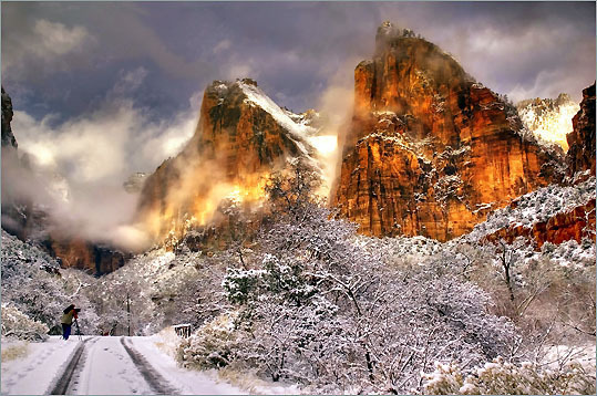 Congratulations to Qinhe Zheng of Medway, who shot this winning photo of the Three Patriarchs in Zion National Park in Springdale, Utah. Ken's take: 'An inspiring combination of light and immediacy in this photograph,' Burns said. 'You feel the urgency of the moment with the light, clouds, red rocks - even the other photographer in the frame - coalescing in this unforgettable moment.'