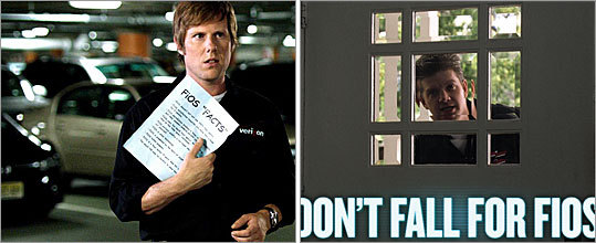 Comcast is running a 'Don't Fall for FIOS' campaign (above right) to fight interest in Verizon. Above left, Verizon ads feature a young, friendly installer explaining the benefits of its fiber-optic TV service to a dopey cable guy. Watch TV spots from both ad campaigns at the right of this page.
