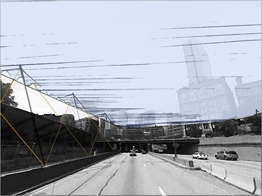 Architect: Simon Hare Design firm: Placetailor Inc. Hare proposes to cast a nylon canopy over Columbus Center, to reconnect the community with the construction site and its possibilities. The canopy, to be spread across the Massachusetts Turnpike work site, would be supported by metal poles and braces that would lift it 30 feet over the highway.