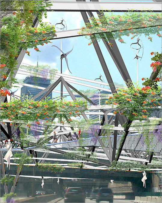 Architect: Chris Reed Design firm: Stoss Landscape Urbanism Reed proposes suspending an energy-producing public garden from latticework over the Massachusetts Turnpike at Columbus Center. The latticework supports a field of microturbines that harness wind created by passing vehicles; it also supports walkways connecting the Back Bay and South End neighborhoods.