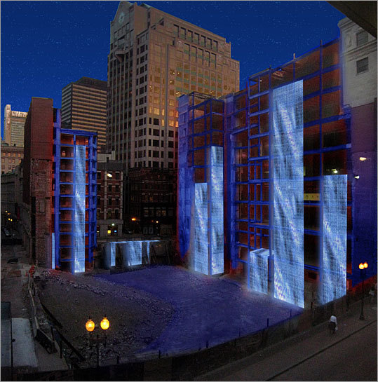 Designer: Brad Koerner Design firm: LAM Partners Inc. Koerner proposes draping the Filene's site in enormous fabric that would serve as the canvas for supersize LED video screens. The screens could project any number of animations, such as a waterfall, or artists could be commissioned to produce animations that reflect the spirit of the Downtown Crossing area. Flood lights would accent the remaining portions of the structure.