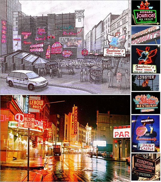 Designer: Dave Waller Design firm: Brickyard VFX Waller proposes to use the empty Filene's site to post vintage neon signs from New England's history, featuring signs from old drive-ins, Howard Johnson's, and Dunkin' Donuts.