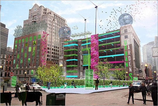Architect: Travis Ewen Design firm: Carol R. Johnson Associates Ewen, a landscape architect, proposes to create an urban garden on the Filene's site with wind turbines and solar panels to be supported by the existing buildings.