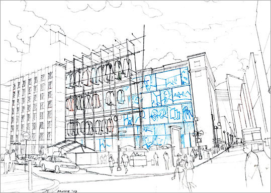 Architect: Michael Joyce Design firm: Goody Clancy Associates Joyce proposes to build an aluminum scaffolding on the site to hang replicas of suits to evoke the history of the Filene's site. At night, the suits are presented in silhouette and backlit lit by vintage images of the store's sale staff and customers.