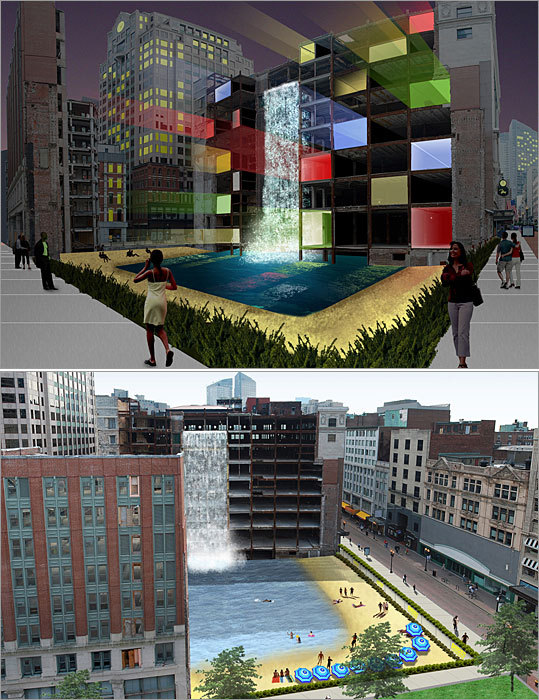 Architect: Christopher Golden and Terry Kinsler Design firm: Carol R. Johnson Associates Landscape architects Golden and Kinsler propose to fill the void in Downtown Crossing with a waterfall and urban oasis. The waterfall would drop from the side of the Filene's building and cascade into a swimming pool, which would be surrounded by a sandy beach. At night, lights and music would emanate from the core of the Filene's building.