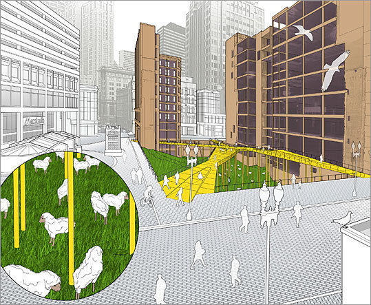 Design firm: Utile Inc. Utile Inc., an urban planning firm, proposes to install crisscrossing boardwalks across the Filene's site that would provide new shortcuts through Downtown Crossing. Below the boardwalk would be a manicured pasture fit for sheep and other livestock that used to roam the nearby Boston Common.