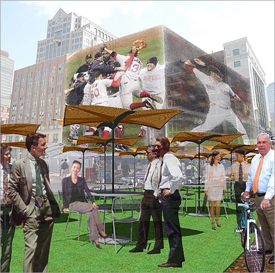 Architect: Derrick Choi Design firm: XChange Architects XChange proposes to erect a massive projection screen on the Filene's site to cover the buildings in images of Boston's sports triumphs and other celebrations such as Fourth of July and First Night. The construction site itself could be used to host a number of public-related purposes, such as the Boston Public Market farmer's market, Christmas tree sales, and the like.