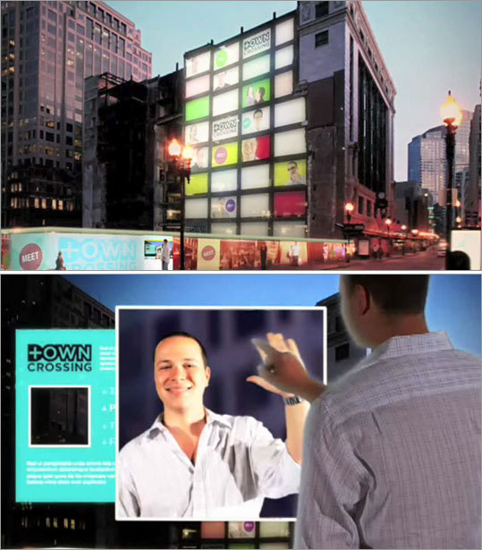 Design firm: Neoscape Neoscape proposes to build a large video screen on the Filene's site that would allow passersby to control the content from a touch screen installed on a fence on the site's perimeter. Watch Neoscape's video rendering .
