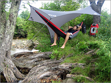 A place to roost on the road Eagles Nest Outfitters' travel-size hammocks offer you comfort whether you want to sleep under the stars or swing in the breeze at your favorite summer spot. They're made of strong, breathable nylon and come with built-in stuff sacks. The one-person SingleNest hammock packs down to softball size, while the DoubleNest measures about the size of a melon. Both hold up to 400 pounds. They sell for $54.95 and $64.95 at REI (800-426-4840, www.rei.com ) or go to www.eaglesnestoutfittersinc.com . You can accessorize your hammock with the ENO Guardian Bug Net ($54.95), ENO DryFly Rainfly ($79.95), or patented ENO SlapStraps ($22), which make it a cinch to suspend your hammock from trees, boat masts, rafters, and other posts. KARI BODNARCHUK