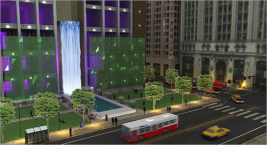 Site: Filene's Project: Urban park Who: (m) + charles beach INTERIORS Complete with benches, grass, walkways, and a three-story waterfall, this urban park is ideal for 'informal activities such as jogging, brown bag lunches or simply a respite from stress and anxiety,' said M. Charles Beach, owner and principal designer at (m) + charles beach INTERIORS. 'If ever realized, our design would make this part of Boston a destination spot and it would greatly enhance the lives of everybody who would be fortunate enough to experience it,' he said.