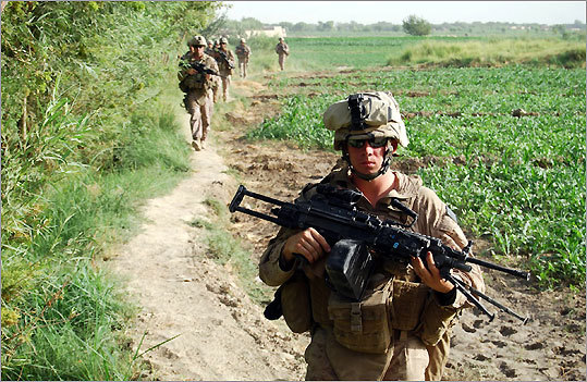 Marines from Echo Company on patrol in the Afganistan province of Helmand